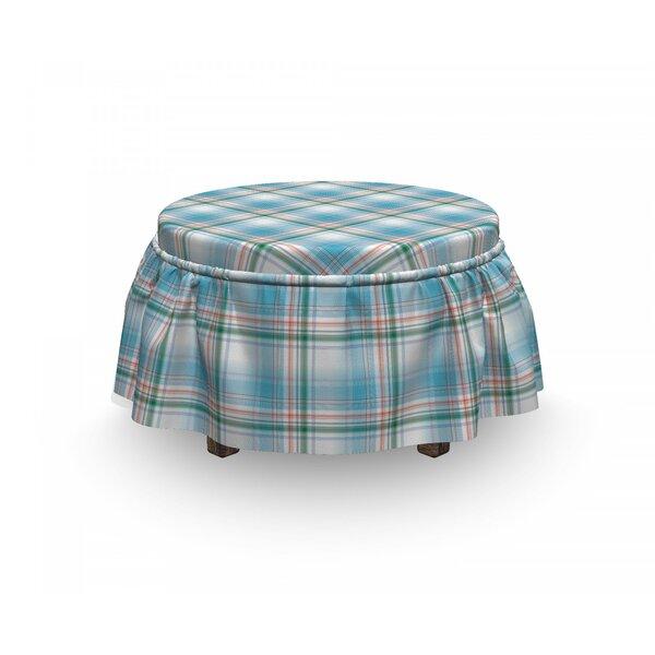 Checkered Pastel Fresh Summer 2 Piece Box Cushion Ottoman Slipcover Set By East Urban Home