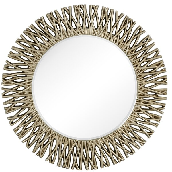 Large Round Antique Silver Decorative Beveled Glass Wall Mirror by Majestic Mirror