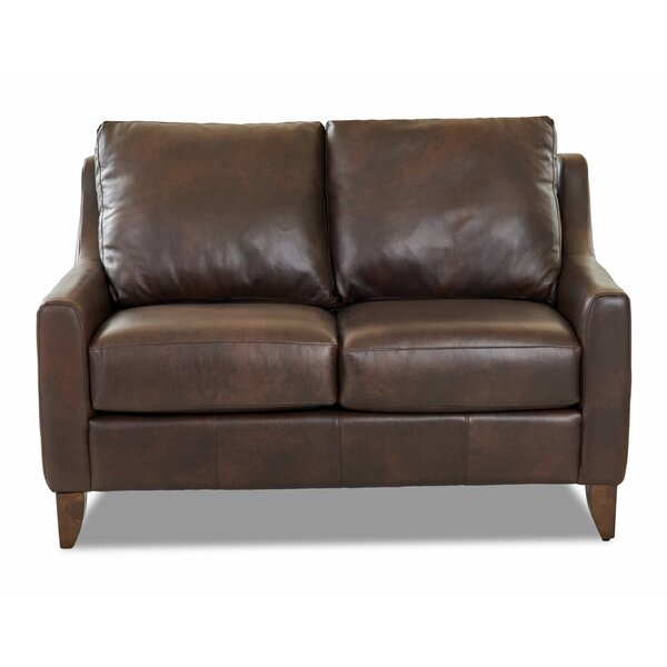 Best Price For Haleigh Leather Loveseat Get The Deal! 30% Off