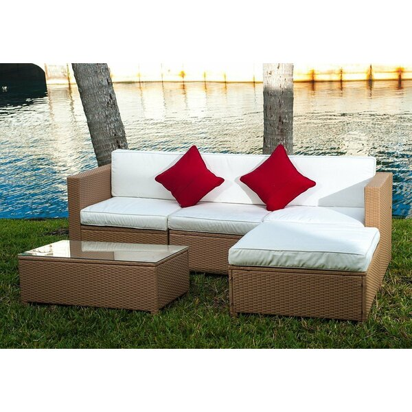 Zinaida 5-Piece Rattan Sectional Seating Group with Cushions by Ebern Designs