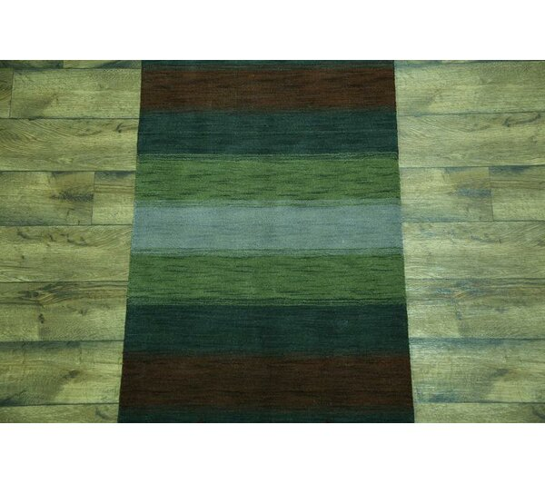 One-of-a-Kind Seidman Jaipur Oriental Hand-Knotted Wool Green Area Rug by Bloomsbury Market