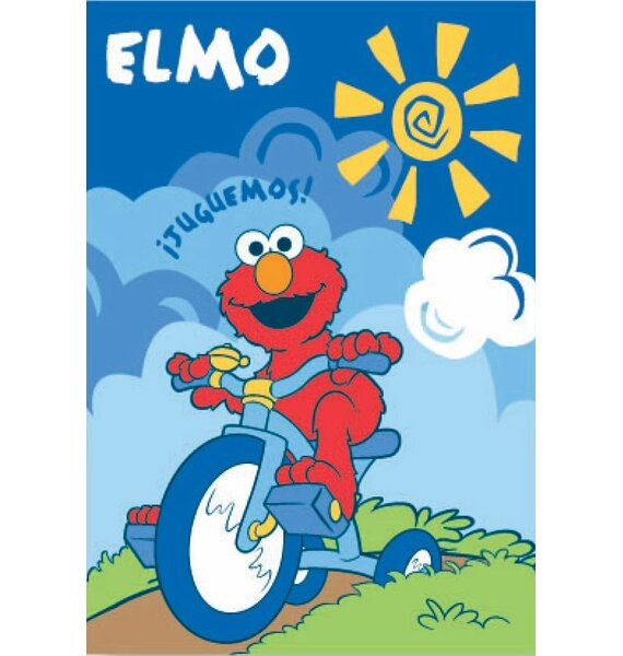 Royal Plush Extra Heavy Elmo Riding a Tricycle Blanket by Ben and Jonah
