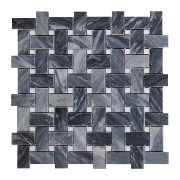 Bardiglio Basketweave 1 x 2 Marble Mosaic Tile in Dark Gray by Seven Seas