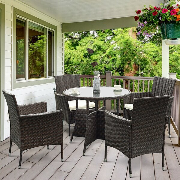 Gurnam Outdoor 5 Piece Dining Set with Cushions by Latitude Run