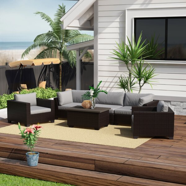 Fernando 6 Piece Sofa Seating Group with Cushions by Sol 72 Outdoor