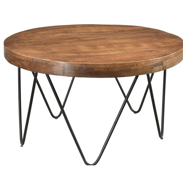 Hankins Round Cocktail Table with Tray Top by Union Rustic