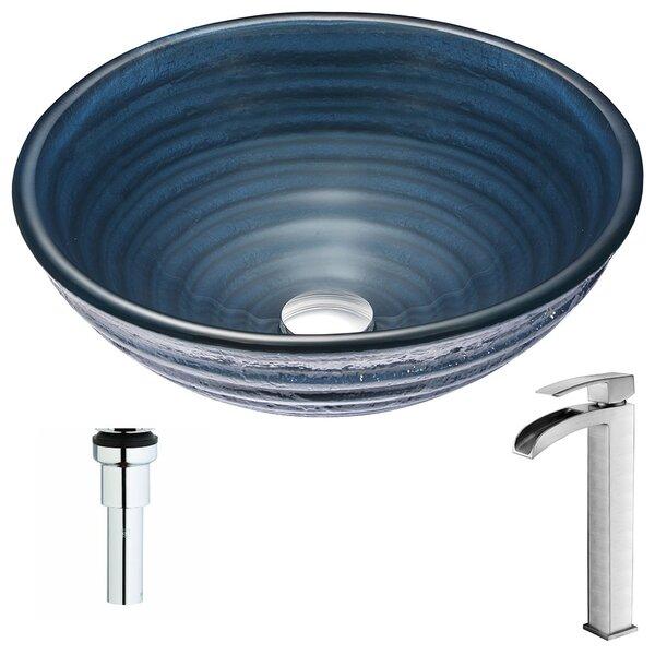 Tempo Glass Circular Vessel Bathroom Sink with Fau