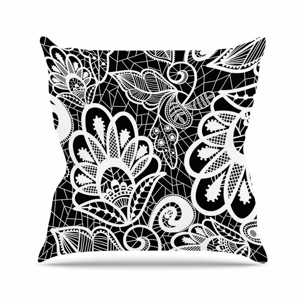 Petit Griffin Floral Lace BW Abstract Modern Outdoor Throw Pillow by East Urban Home