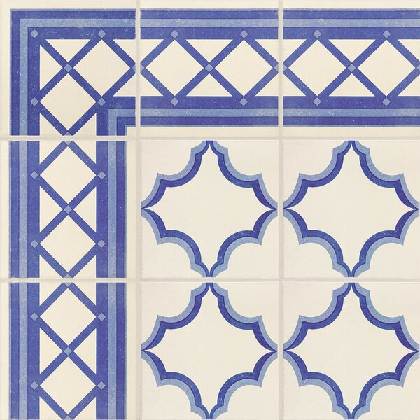 Cementa 7 x 7 Porcelain Field Tile in Blue/White by EliteTile