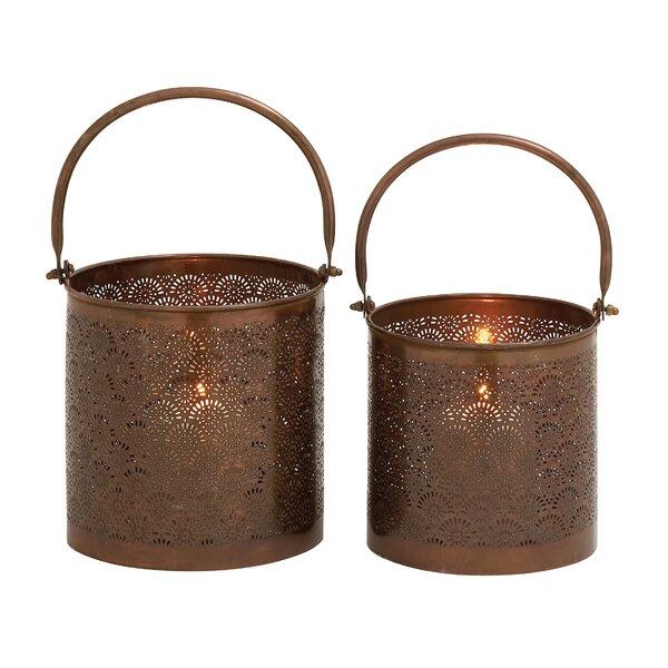 2 Piece Stunning Metal Lantern Set by Woodland Imports