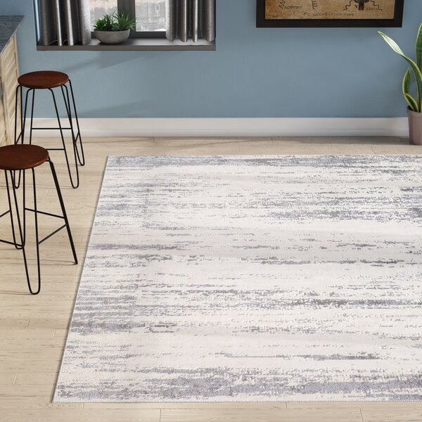 Bridgeton Distressed Modern Gray/Cream Abstract Area Rug by Greyleigh