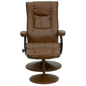 Carey Leather Manual Swivel Recliner With Ottoman by Winston Porter