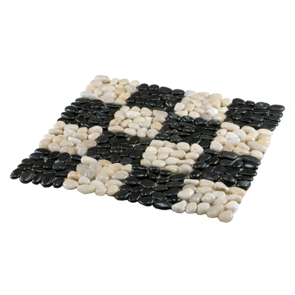 River Random Sized Stone Pebble Tile in Black and White (Set of 6) by BIDKhome