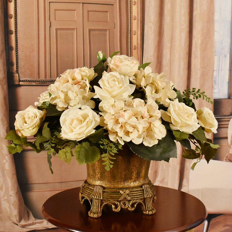 Floral Home Decor Cream Hydrangea And Rose Silk Centerpiece Reviews Wayfair