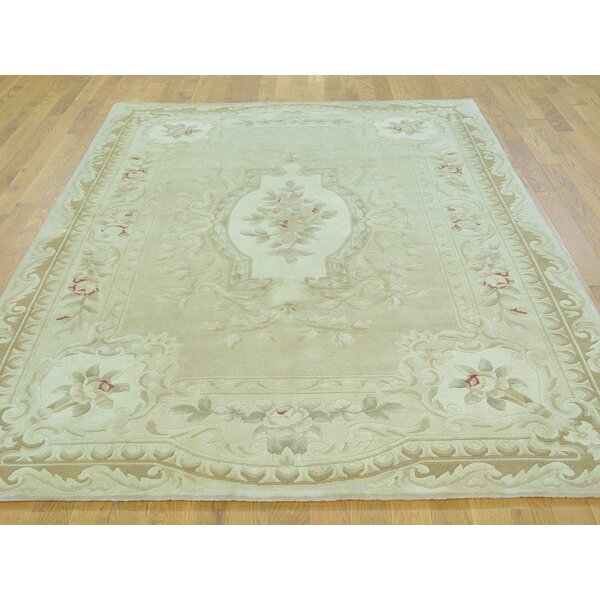 One-of-a-Kind Besser Plush Hand-Knotted Beige Wool/Silk Area Rug by Isabelline