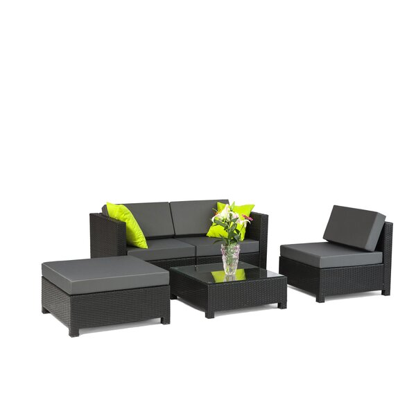 Alvin 5 Piece Sofa Set with Cushions by Wrought Studio