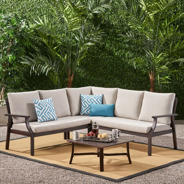 Vaidya 4 Piece Sectional Seating Group with Cushions