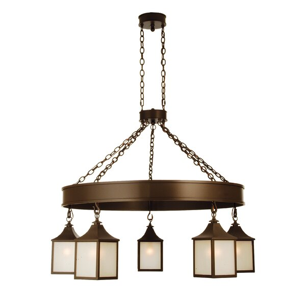 5 - Light Shaded Wagon Wheel Chandelier by Meyda Tiffany Meyda Tiffany