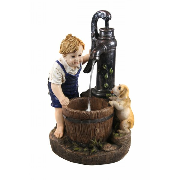 Resin/Fiberglass Boy and Girl Drinking Water Fountain with LED Light by Alpine