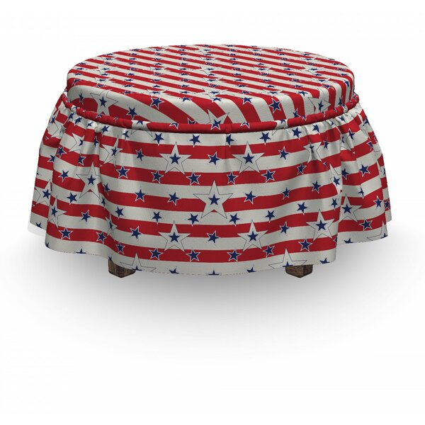 Usa Love My Country America 2 Piece Box Cushion Ottoman Slipcover Set By East Urban Home
