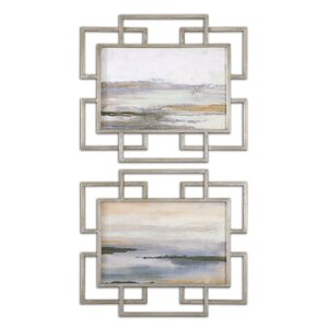 'Gray Mist' 2 Piece Framed Painting Print Set by Wade Logan