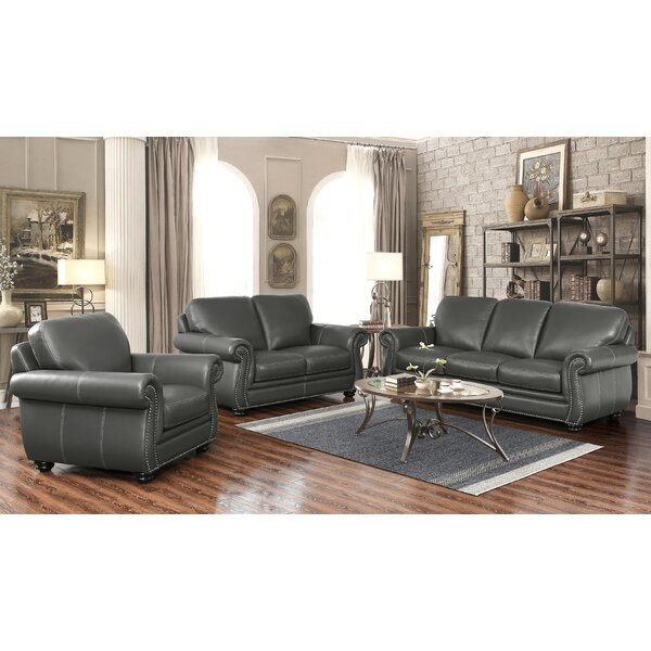 Fairdale 3 Piece Leather Living Room Set by Darby Home Co