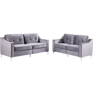 2 Pieces Tufted Velvet Upholstered Loveseat & Couch Sofa Track Arm Classic Mid-Century Sofa Set With Chromed Metal Legs by Everly Quinn