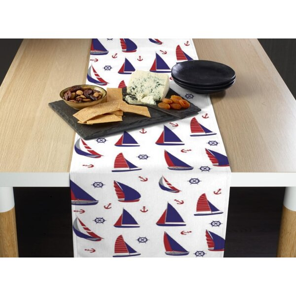 Esparza Nautical Sailboats Allover Milliken Signature Table Runner by Breakwater Bay