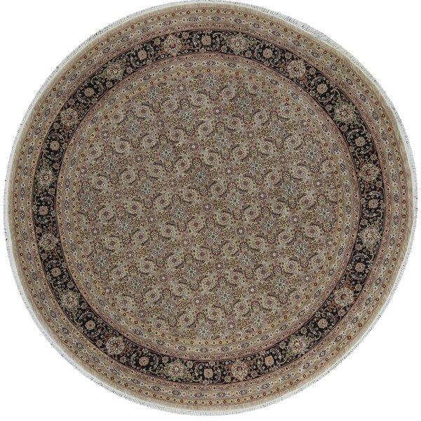 Round Manchuria Oriental Hand-Knotted 8' x 8' Wool Beige/Black Area Rug