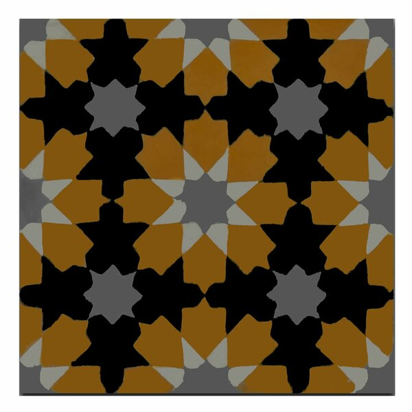 Ahfir 8 x 8 Handmade Cement Tile in Orange/Black by Moroccan Mosaic
