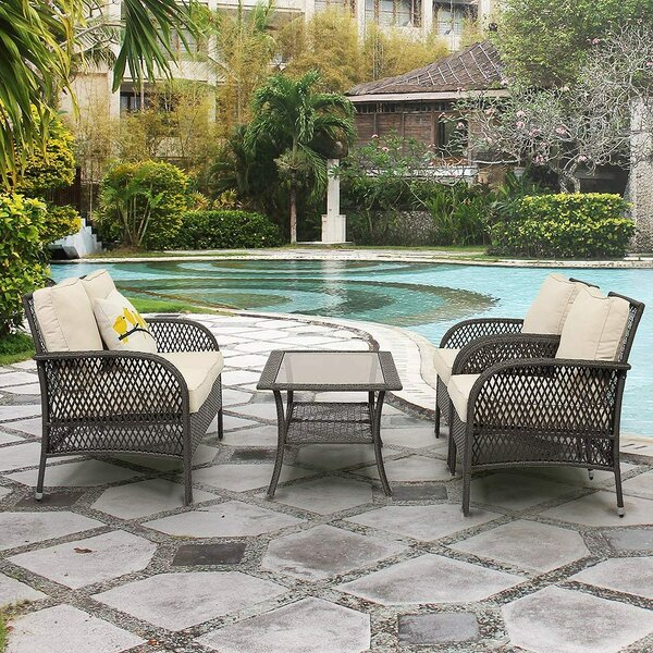 Siddell Patio 4 Piece Rattan Sofa Seating Group with Cushions by Ebern Designs