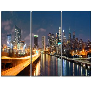 Philadelphia Skyline at Night - 3 Piece Photographic Print on Wrapped Canvas Set by Design Art