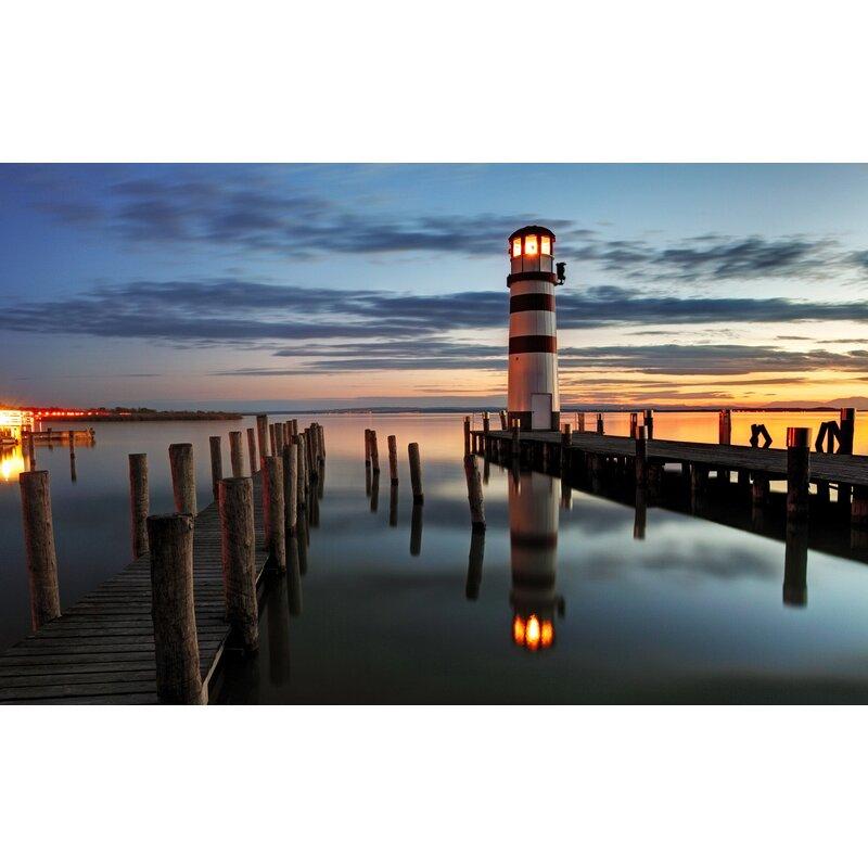 northlight led lighted coastal sunset lighthouse scene photographic