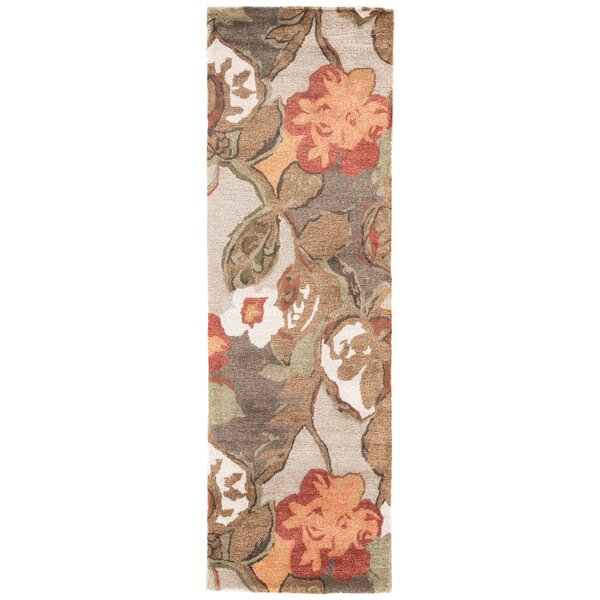 Gustin Floral Handmade Tufted Green/Brown/Orange Area Rug