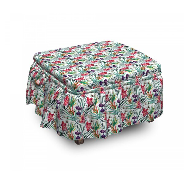 Floral Art Tropical 2 Piece Box Cushion Ottoman Slipcover Set By East Urban Home