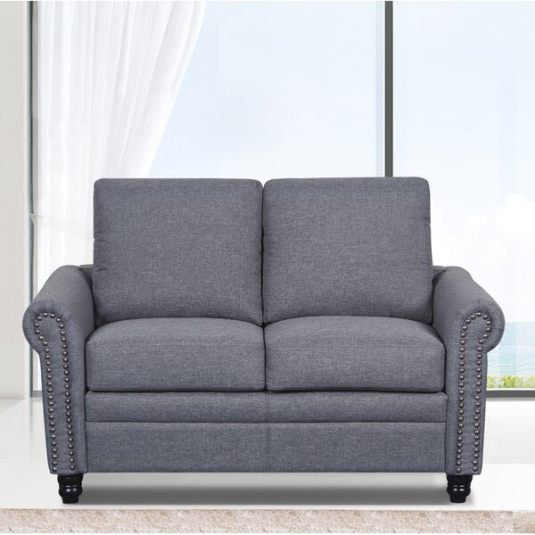 Modern Collection Rosalind Linen Upholstered Loveseat by Charlton Home by Charlton Home
