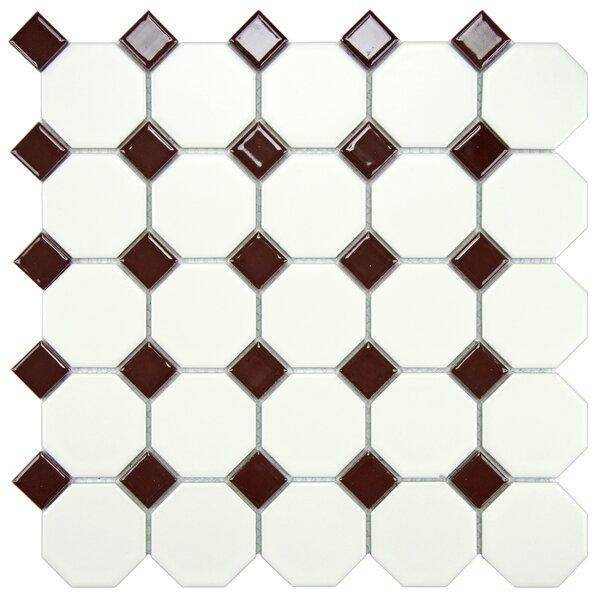 Retro Random Sized Porcelain Mosaic Tile in Matte White/Burgundy by EliteTile