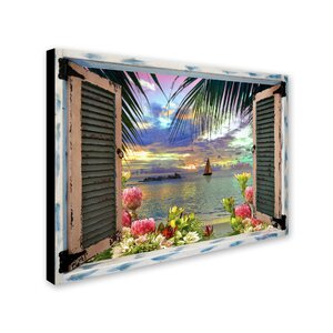 'Tropical Window to Paradise III' Graphic Art Print on Wrapped Canvas by Trademark Fine Art