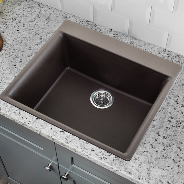 23.62 L x 20.86 W Quartz Single Bowl Kitchen Sink with Twist and Lock Strainer by Soleil
