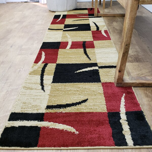 Pasha Maxy Home Contemporary Boxes Red/Ivory Area Rug by Rugnur