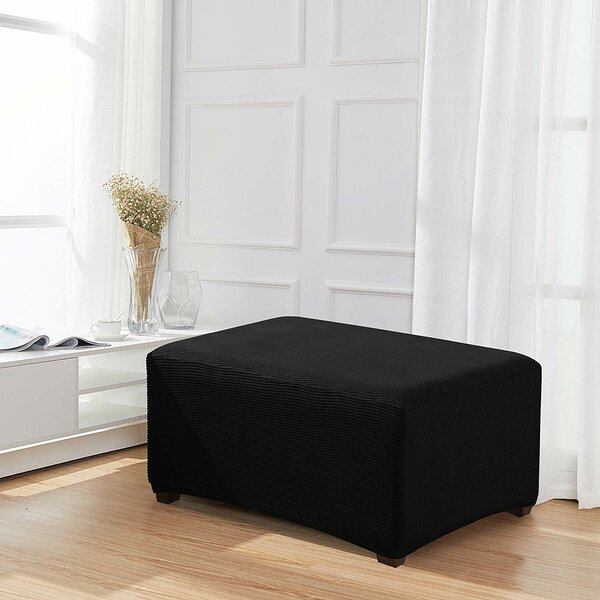 Stretch Spandex Jacquard Rectangle Folding Box Cushion Ottoman Slipcover By Symple Stuff
