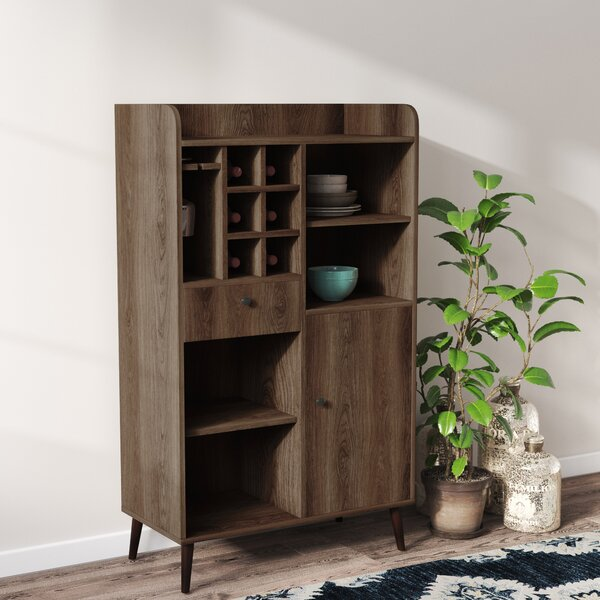 Pryor Wine Bar with Wine Storage by Gracie Oaks Gracie Oaks