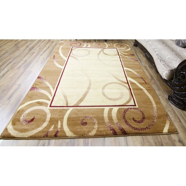 Passion Gold/Cream Area Rug by Beyan Signature