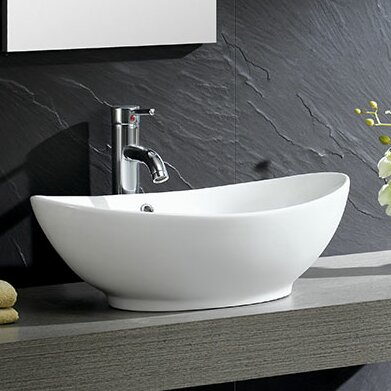 Modern Ceramic Oval Vessel Bathroom Sink with Over