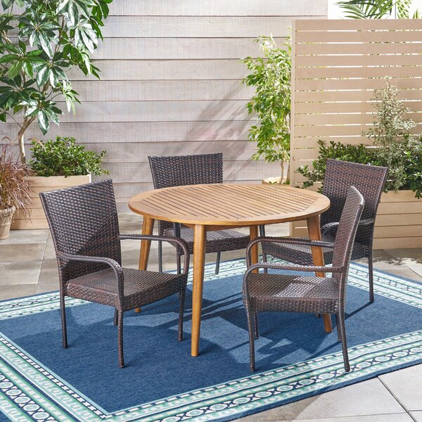 Hoehne Outdoor 5 Piece Dining Set By Bungalow Rose