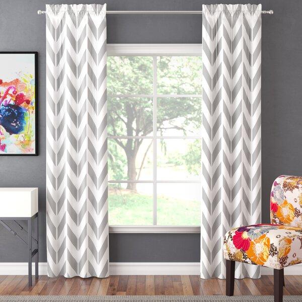 Ruth Chevron Light Filtering Rod Pocket Curtain Panels (Set of 2) by Zipcode Design