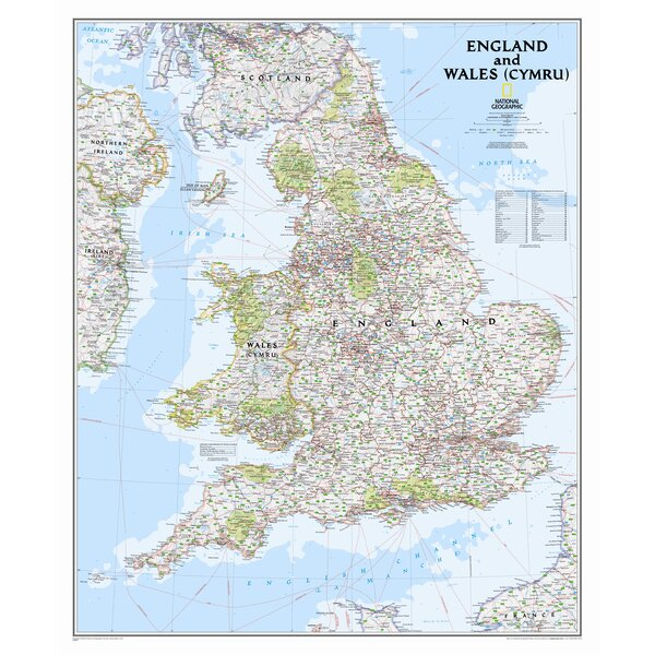 England and Wales Classic Wall Map,36 x 30 by National Geographic Maps