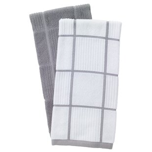 2 Piece Solid And Check Parquet Kitchen Dishcloth Set