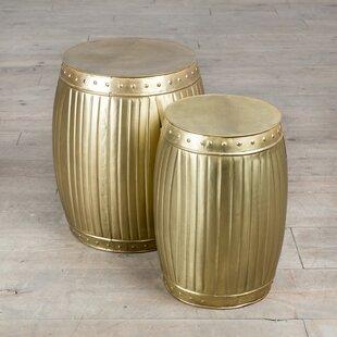 Fluted Barrels 2 Piece End Table Set