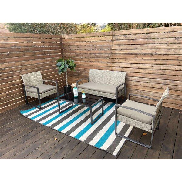 4 Piece Complete Patio Set with Cushion by Brayden Studio